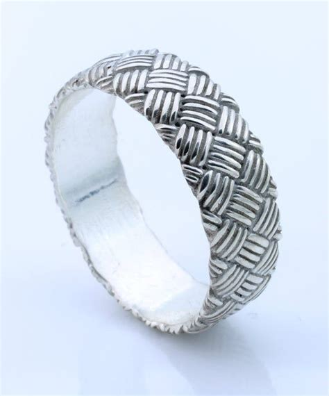 s silver braided wedding band woven band gift for him