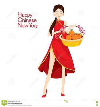Cheongsam Holding Woman Basket Chinese Cartoon