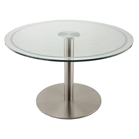 Simple Round Glass Top Coffee Table Using Chrome Metal Leg