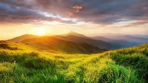 Wallpaper, Nature, Landscape, Clouds, Sunset, Grass, Sky, Mist, Carpathian, Mountains, Ukraine