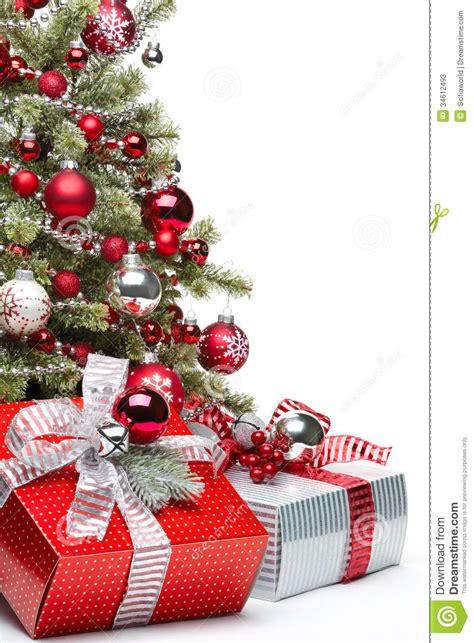 decorated christmas tree  gifts stock  image