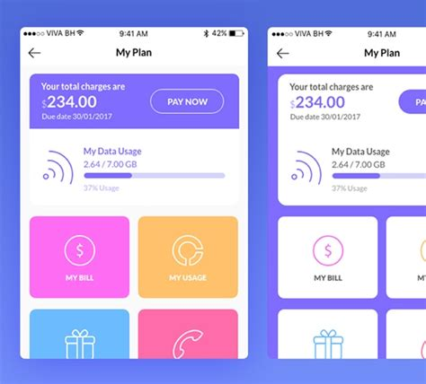 mobile data usage ui kit  app screens  adobe xd