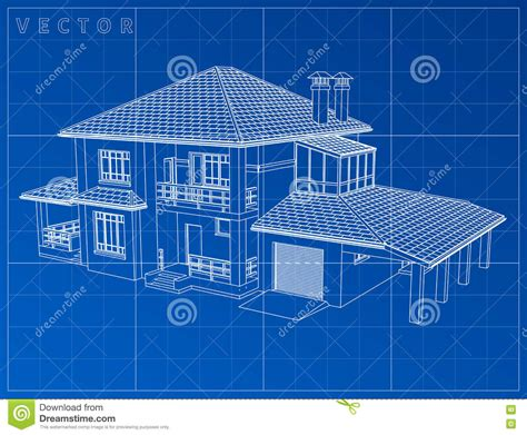 Wireframe Blueprint Drawing Of 3d House