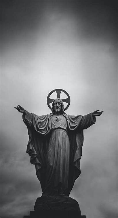 Jesus Word Wallpapers Christ Statue Z83 Grayscale