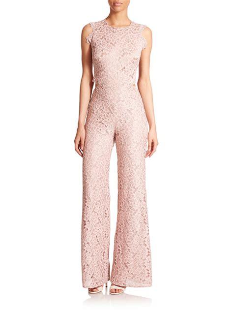 lace jumpsuit livia floral lace cutout jumpsuit in pink lace