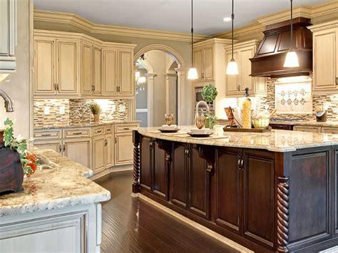Brown Grey Tile Backsplash Dark Wood Kitchen Island Oven Ideas