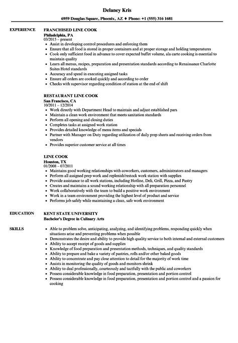 Line Cook Resume by Line Cook Resume Sles Velvet