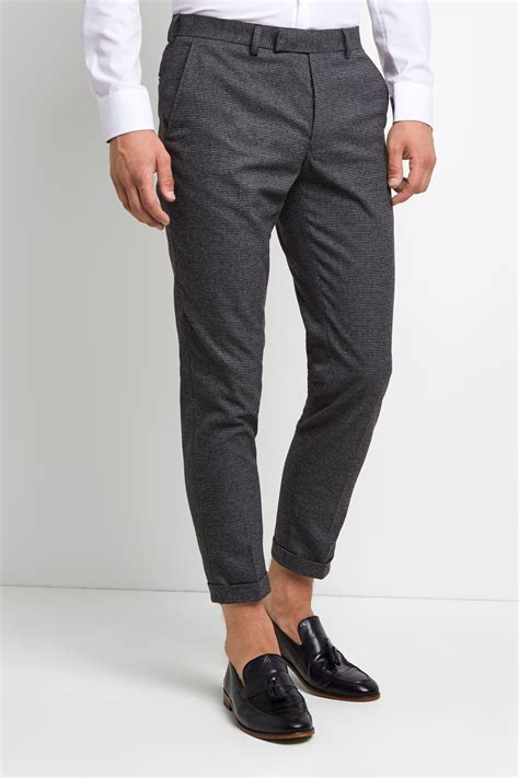 moss london skinny fit puppytooth brushed cropped trousers