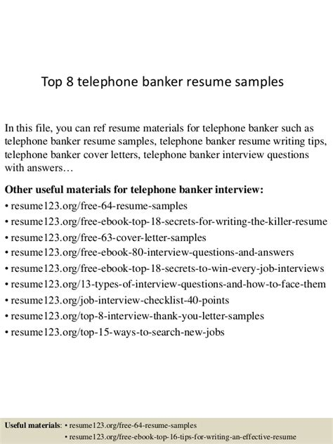 Phone Banker Resume by Top 8 Telephone Banker Resume Sles