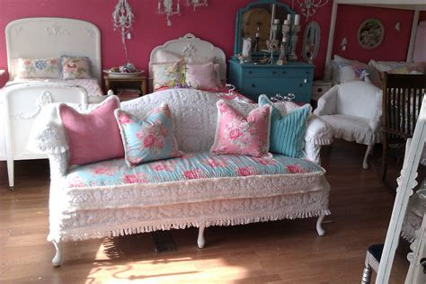 sofa shabby chic shabby chic sofa couch chenille bedspread by vintagechicfurniture