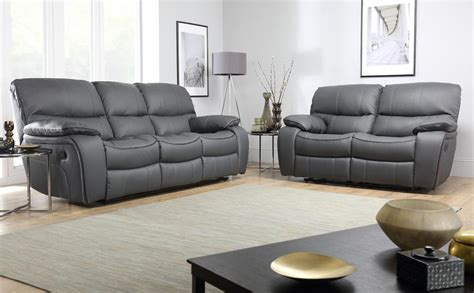 beaumont grey leather recliner sofa  seater