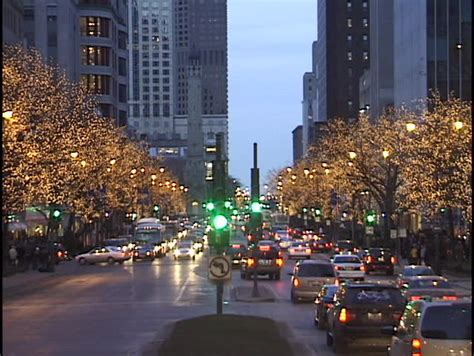 chicago michigan avenue at christmas 1 stock footage video