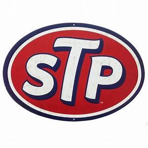 Stp Motor Oil Logo Embossed Tin Sign Vintage Style Garage