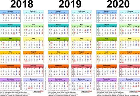 Printable 3 Year Calendar 2018 2018 2019