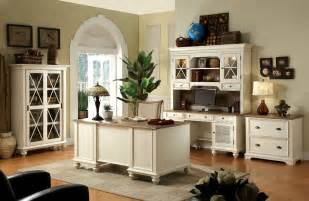 Home Design Furniture - rustic style home office design with white painted furniture interior color decor combined with