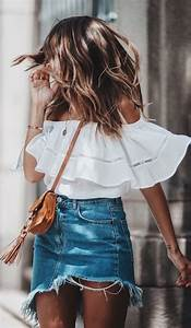 40+ Insanely Cute Summer Outfits | Denim skirt Shoulder and Summer