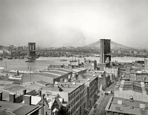Circa 1904 Manhattan East River And Brooklyn Bridge