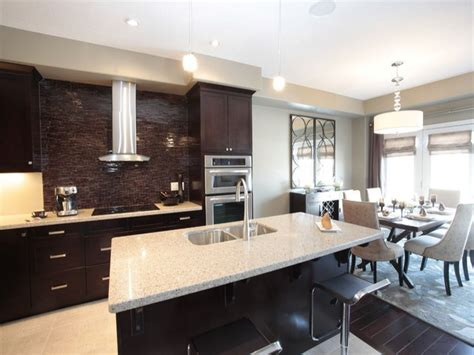 Kitchen And Dining Room Combo Custom Brown Wooden Wall