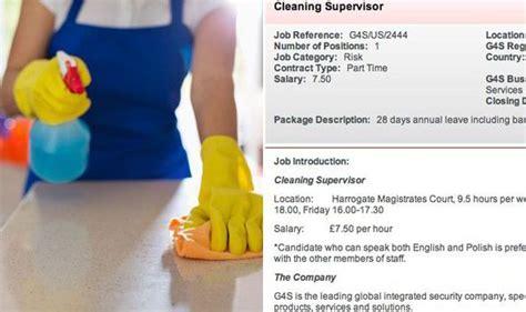 G4s Cleaner Advert In Harrogate Asked For Polish Speaker