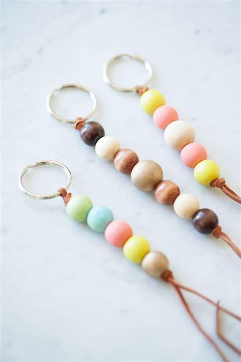 diy wooden bead keychain beaded keychains keychain craft wooden beads