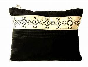 black ivory silky throw pillow scroll pleats With black and ivory throw pillows