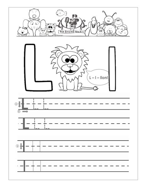 free handwriting worksheets for the alphabet 368 | Letter L practice sheet
