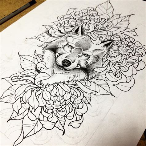Lovely Wolf Head In Peony Flowers Tattoo Design