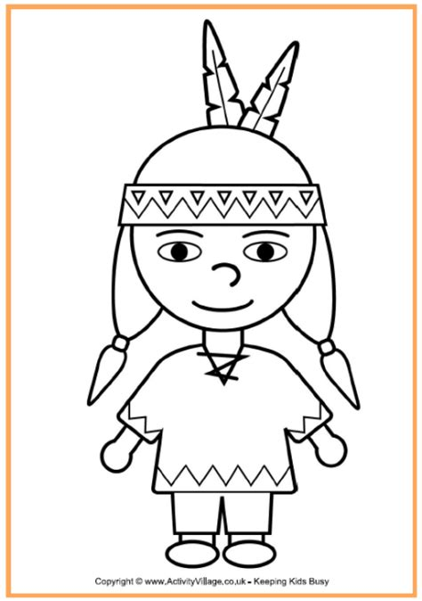 native american boy coloring page thanksgiving coloring pages  kids