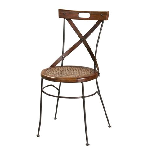sheesham wood and wrought iron x back chair lub 233
