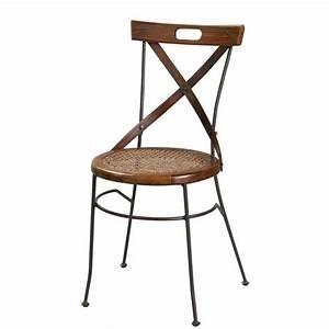 Chaise Fer Forgé : chaise crois e en bois de sheesham et fer forg luberon maisons du monde ~ Teatrodelosmanantiales.com Idées de Décoration