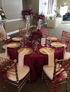 this gorgeous table set up is filled with upgrades floor With burgundy wedding reception decorations