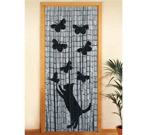 rideau de porte bambou rideau de porte bambou chat et papillon