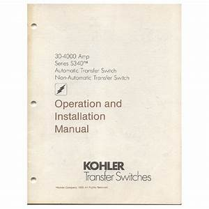 Original 1989 Kohler Operation  U0026 Install Manual Series