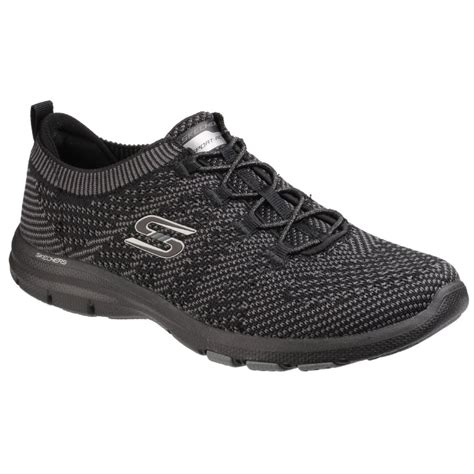 skechers womens black galaxies lace  trainers sk