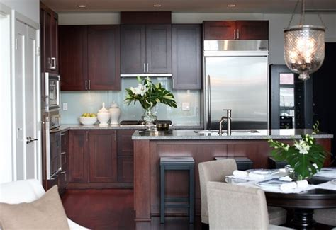 modern cherry kitchen cabinets cherry kitchen cabinets with gray wall and quartz 7586