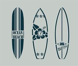 Planche Surf Deco : pochoir en vinyle adh sif planches de surf bord de mer ref 85 surf interieur et d coration ~ Teatrodelosmanantiales.com Idées de Décoration