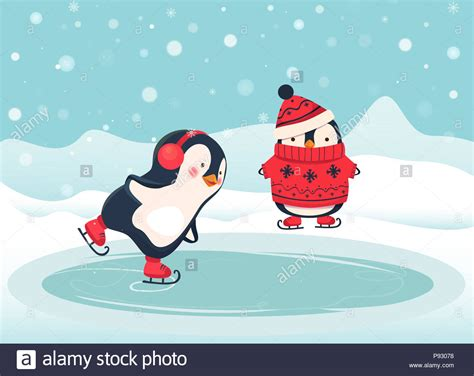 Penguin Ice Skater Cartoon. Penguin Isolated Illustration