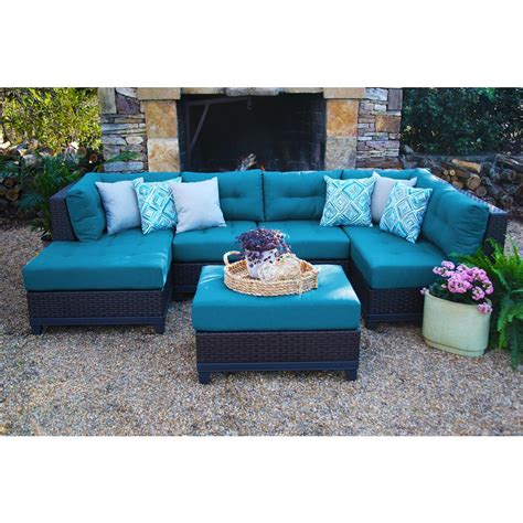 sunbrella outdoor sectional ae outdoor hillborough blue 4 all weather wicker