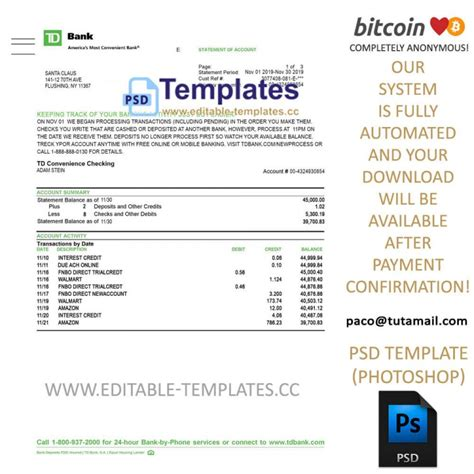 Bitcoin atm is not as widely used as fiat currency, however, there are now over 3,700 of automatic teller machines installed around the world. Fully editable TD bank Statement PSD Template