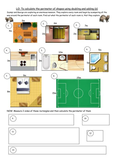 3 differentiated perimeter worksheets for y4 d2 by