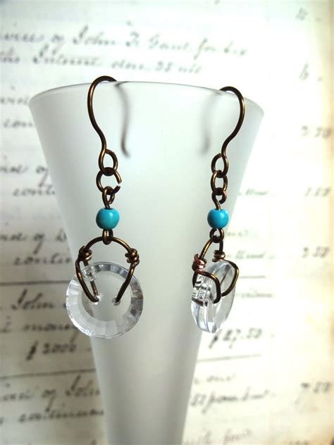stacked pixie haircuts clear glass vintage button earrings copper wire 3077