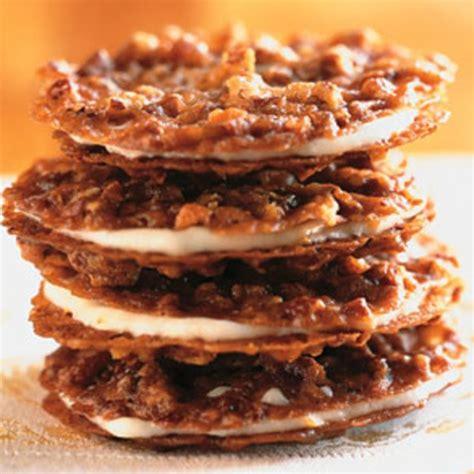 d馮lacer cuisine pecan lace sandwich cookies with orange buttercream recipe epicurious com