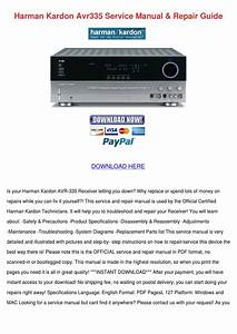 Harman Kardon Avr335 Service Manual Repair Gu By Marjory