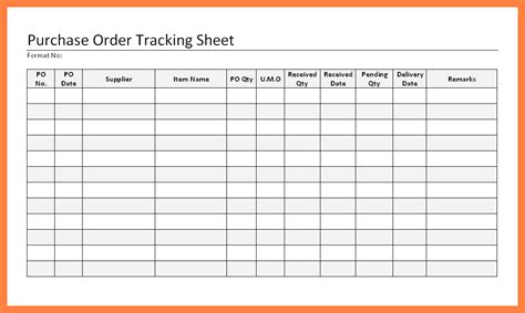 Excel Purchase Order Tracking Template by Purchase Order Tracking Excel Spreadsheet Onlyagame