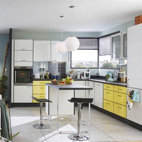 meuble de cuisine jaune delinia pop leroy merlin