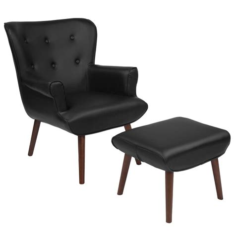 Side Chair With Ottoman by Upholstered Wingback Chair With Ottoman In Black Leather
