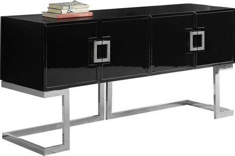 Black And Chrome Sideboard by Meridian Furniture Beth Black Chrome Base Sideboard Buffet