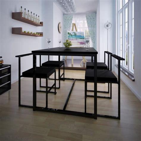table et chaises de salle à manger table de salle à manger et 4 chaises noir mdf achat