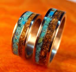 turquoise wedding ring sets titanium rings wedding rings turquoise rings tigers eye