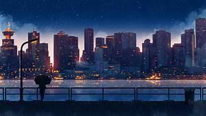 1920x1080 Anime City Lights Night Rain Umbrella Sky 5k